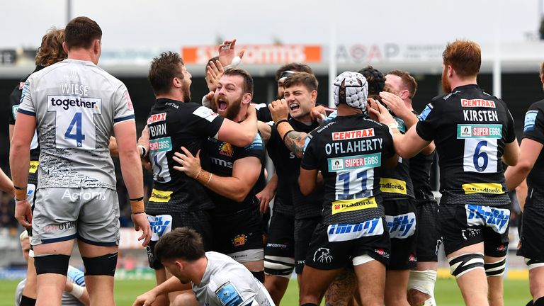 Exeter Chiefs celebrate scoring against Sale