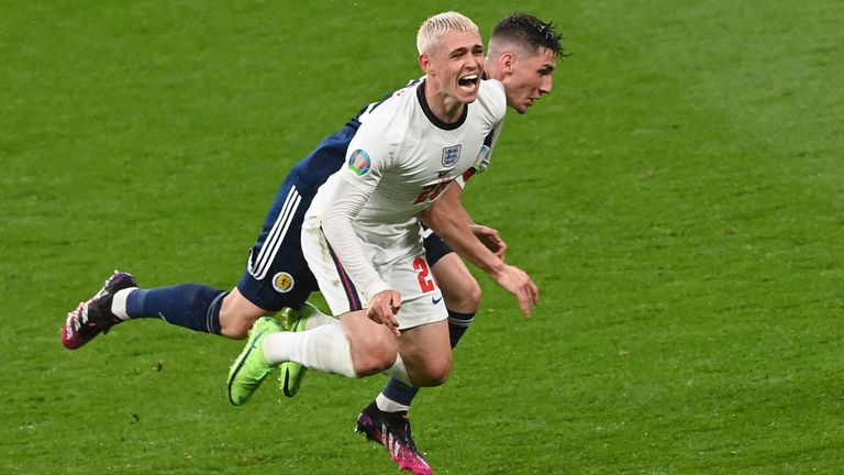 Billy Gilmour challenges Phil Foden during Scotland's draw with England