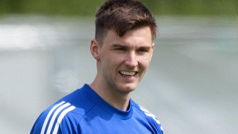 Kieran Tierney during a Scotland training session