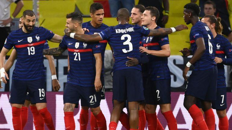 Los jugadores de Francia celebran su gol contra Alemania