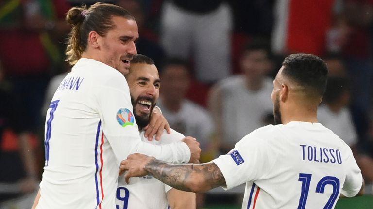 France celebrate a goal against Portugal