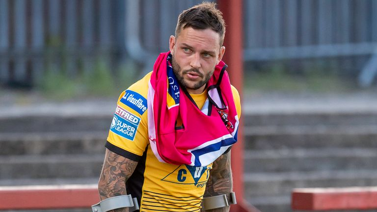 Castleford's Gareth O'Brien is dejected after taking an injury against Wakefield that forces him off the field