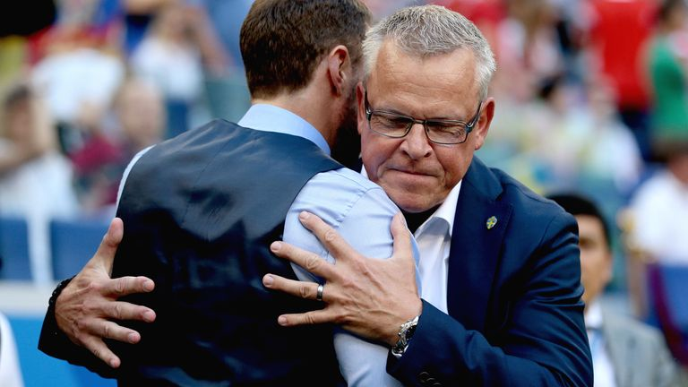 England manager Gareth Southgate (left) and Sweden manager Janne Andersson hug before the FIFA World Cup, Quarter Final match at the Samara Stadium. PRESS ASSOCIATION Photo. Picture date: Saturday July 7, 2018.
