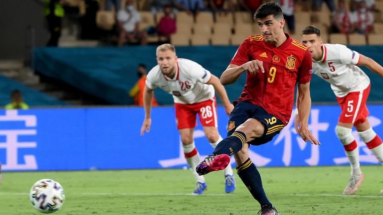 Spain's Gerard Moreno misses a penalty against Poland