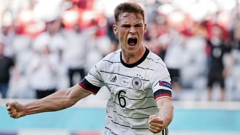 Joshua Kimmich celebrates after Germany's second goal against Portugal