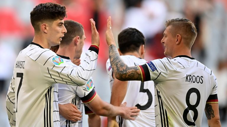 Germany's Kai Havertz celebrates after scoring his side's third goal against Portugal