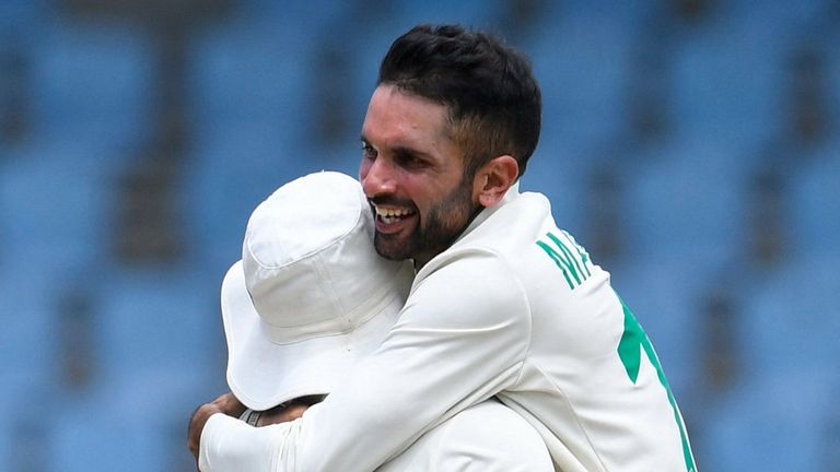 South Africa's Keshav Maharaj celebrates after taking a hat-trick in the second Test against West Indies