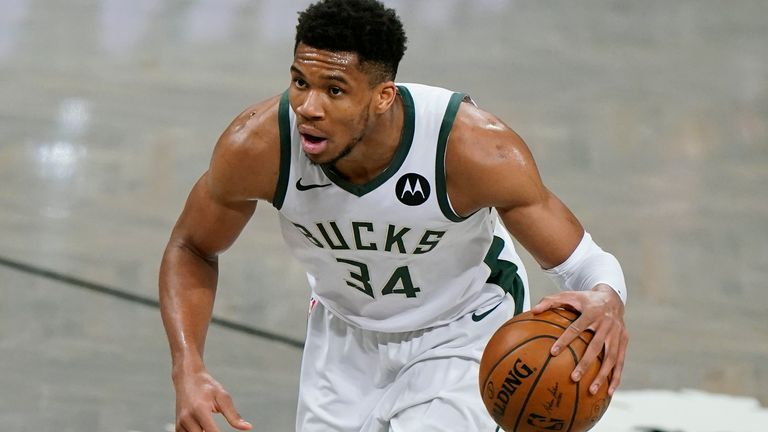 Milwaukee Bucks forward Giannis Antetokounmpo (34) waits for an opening in Game 5 of a second-round NBA basketball playoff series against the Brooklyn Nets, Tuesday, June 15, 2021, in New York. (AP Photo/Kathy Willens)