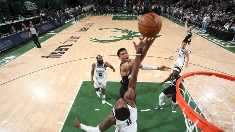 MILWAUKEE, WI - JUNE 17: Giannis Antetokounmpo #34 of the Milwaukee Bucks drives to the basket during the game against the Brooklyn Nets during Round 2, Game 6 of the 2021 NBA Playoffs on June 17, 2021 at the Fiserv Forum Center in Milwaukee, Wisconsin. NOTE TO USER: User expressly acknowledges and agrees that, by downloading and or using this Photograph, user is consenting to the terms and conditions of the Getty Images License Agreement. Mandatory Copyright Notice: Copyright 2021 NBAE (Photo b