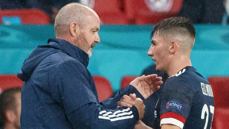 ENGLAND, SCOTLAND - JUNE 18: Scotland head coach Steve Clarke (left) with Billy Gilmour during a Euro 2020 match between England and Scotland at Wembley Stadium, on June 18, 2021, in London, England. (Photo by Craig Williamson / SNS Group)