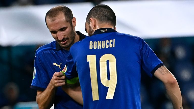 Chiellini was forced off through injury in the first half