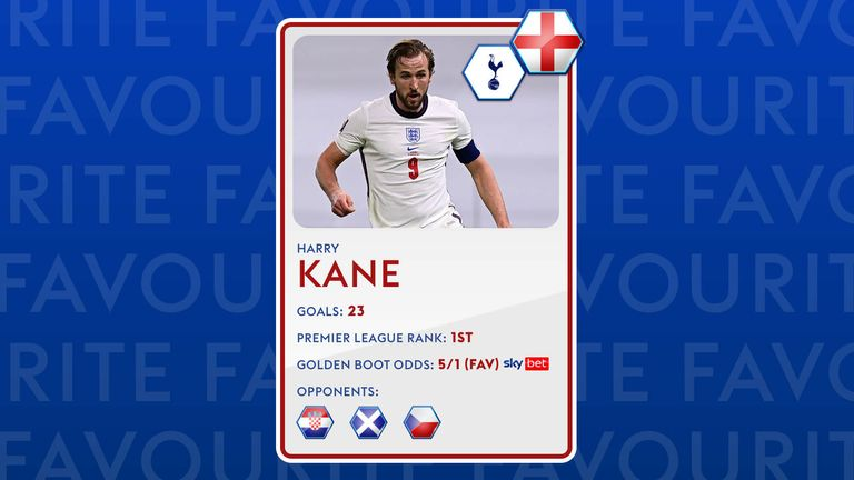 Premier League Golden Boot winner Harry Kane is the favourite for the Euro 2020 one too.