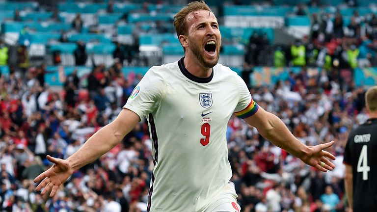England's Harry Kane celebrates after scoring his side's 2nd goal during the Euro 2020 soccer championship round of 16 match between England and Germany, at Wembley stadium in London, Tuesday, June 29, 2021. (Andy Rain, Pool via AP)