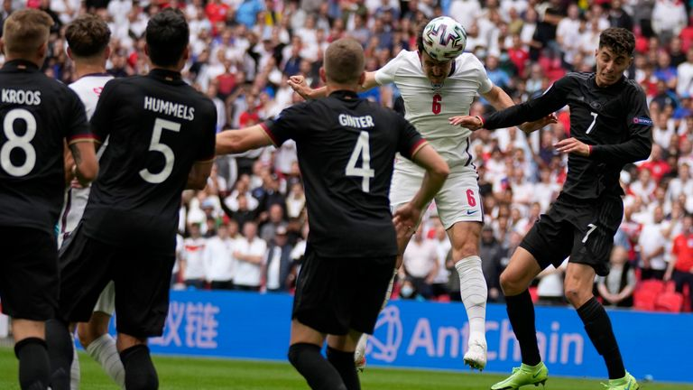 England defender Harry Maguire gets a header in on goal against Germany