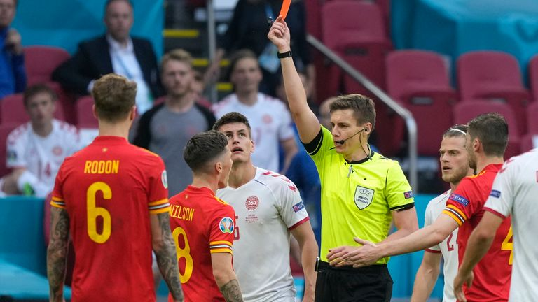 Harry Wilson is shown a straight red card late on