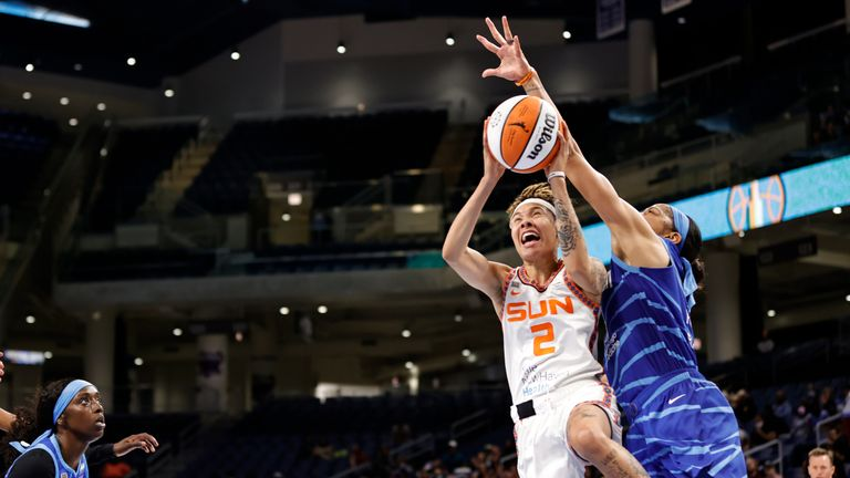 CHICAGO, IL - JUNE 17: Natisha Hiedeman #2 of the Connecticut Sun shoots the ball during the game against the Chicago Sky on June 17, 2021 at the Wintrust Arena in Chicago, Illinois. NOTE TO USER: User expressly acknowledges and agrees that, by downloading and or using this photograph, user is consenting to the terms and conditions of the Getty Images License Agreement. Mandatory Copyright Notice: Copyright 2021 NBAE (Photo by Kamil Krzaczynski/NBAE via Getty Images)