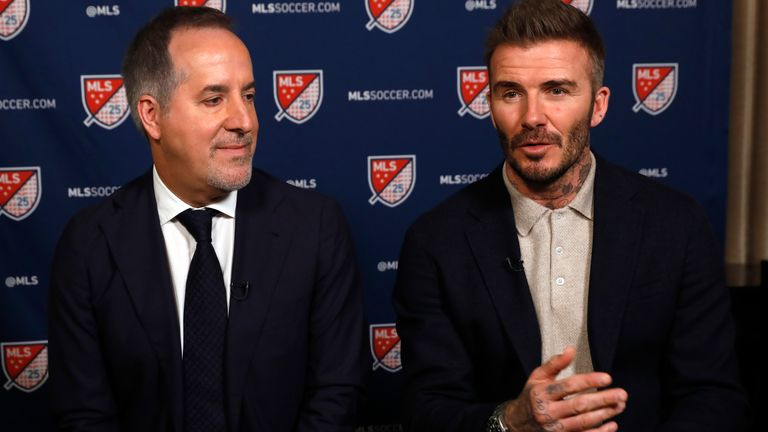 Inter Miami CF co-owners Jorge Mas, left, and David Beckham