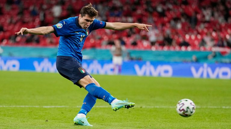 Italy's Federico Chiesa kicks the ball during the Euro 2020 soccer championship round of 16 match between Italy and Austria at Wembley