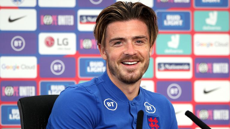 England's Jack Grealish during a news conference at St George's Park