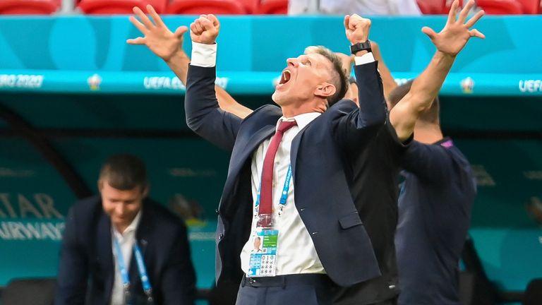 Czech Republic's Jaroslav Silhavy celebrates after the victory