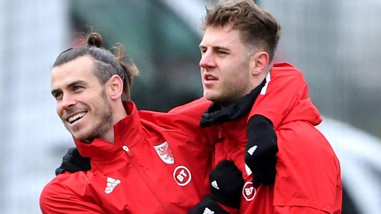 Joe Rodon and Gareth Bale during Wales training