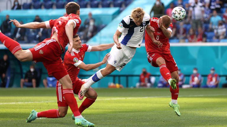 Joel Pohjanpalo scores for Finland but is denied by VAR