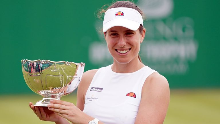 Johanna Konta with the trophy after winning her WTA final against Shuai Zhang on day nine of the Viking Open at Nottingham Tennis Centre. Picture date: Sunday June 13, 2021.