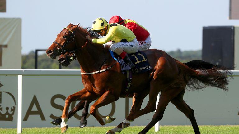 Juan Elcano wins the Listed Wolferton Stakes at Royal Ascot for trainer Kevin Ryan and jockey Andrea Atzeni