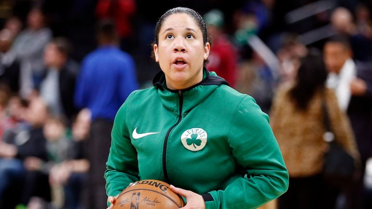 Lawson on the court during her time as Celtics assistant coach (AP)