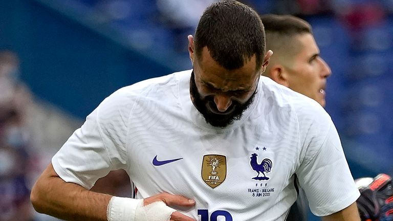 Karim Benzema was substituted in the first half after an apparent knock to the knee