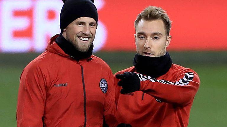 Denmark's Kasper Schmeichel (left) and Christian Eriksen during a training session at the Aviva Stadium, Dublin.