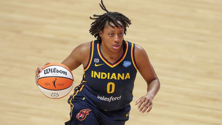 Indiana Fever's Kelsey Mitchell during a WNBA basketball game