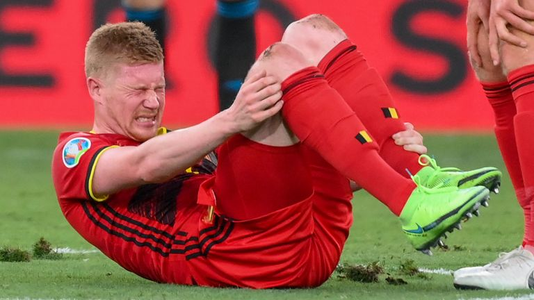 Belgium's Kevin De Bruyne reacts during the Euro 2020 soccer championship round of 16 match between Belgium and Portugal at La Cartuja stadium, Seville
