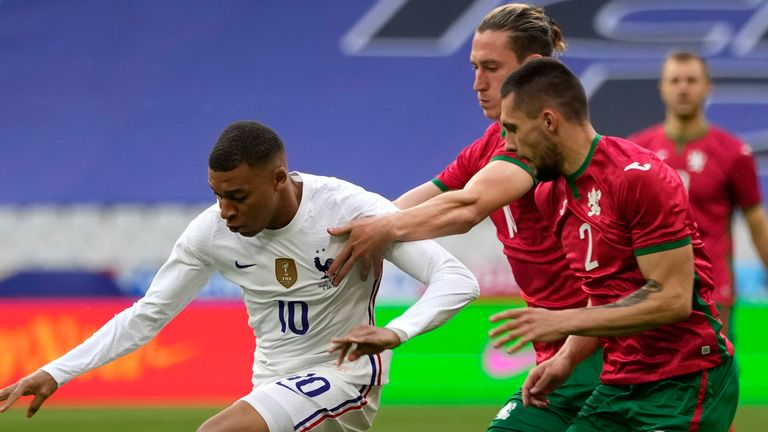 Kylian Mbappe in action against Bulgaria