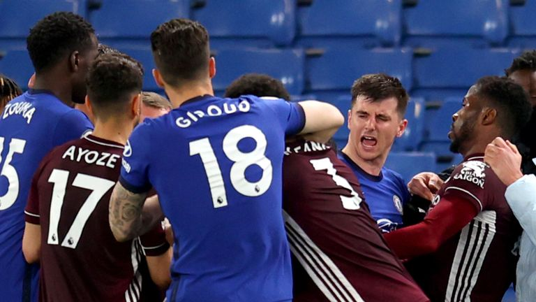 A brawl ensued just before the final whistle in Chelsea's 2-1 win over Leicester