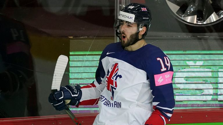 AP - Liam Kirk of Britain celebrates a goal during the Ice Hockey World Championship group A match between the Britain and Denmark at the Olympic Sports Center in Riga, Latvia, Wednesday, May 26, 2021. (AP Photo/Roman Koksarov)
