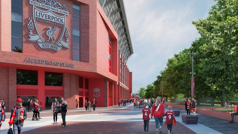 Artists impression of Liverpool's proposed Anfield Road stand redevelopment, which has been granted today.