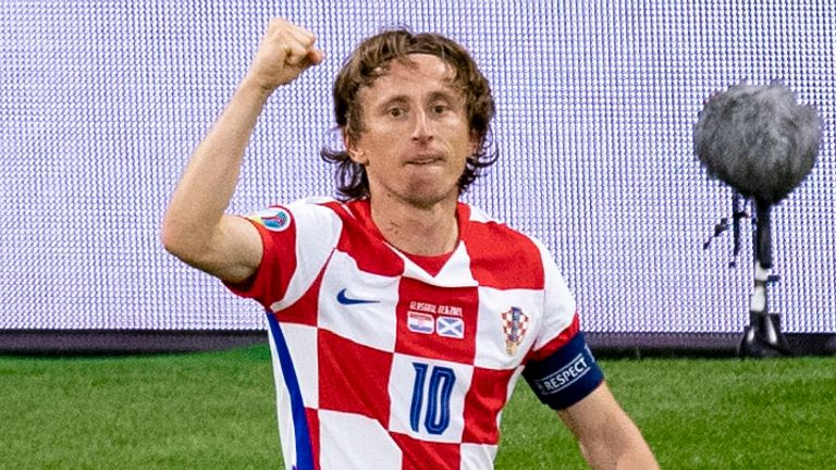 Croatia's Luka Modric celebrates making it 2-1 during a Euro 2020 match between Croatia and Scotland at Hampden Park