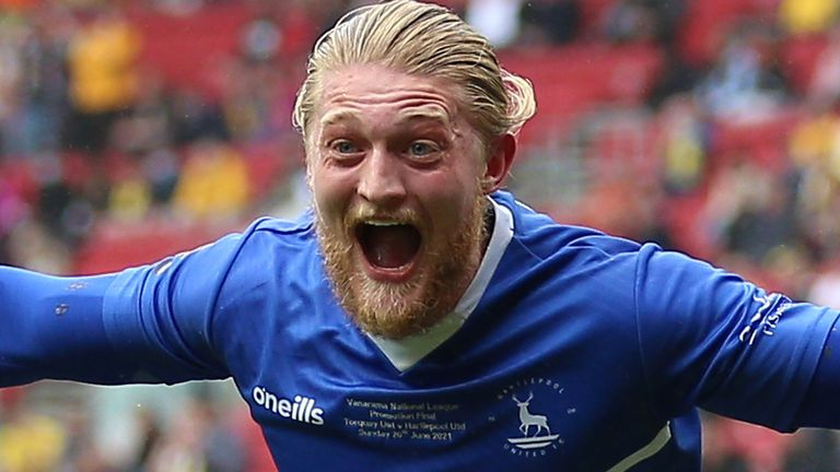 Hartlepool's Luke Armstrong scored the opening goal of the National League play-off final against Torquay (PA)