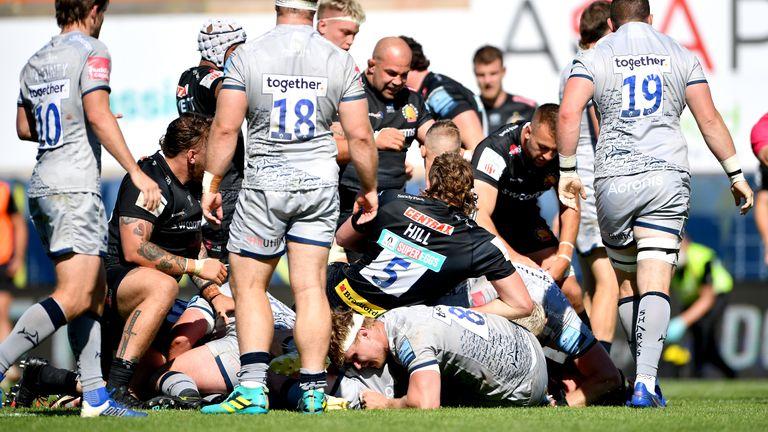 Exeter celebrate Luke Cowan-Dickie's try against Sale