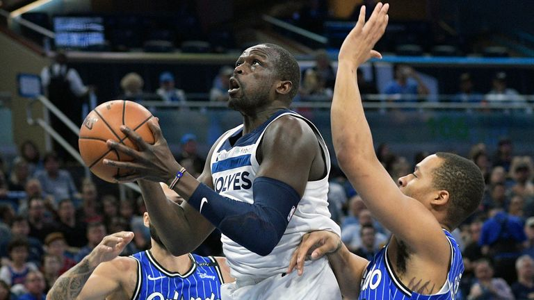 Deng in action for the Timberwolves against the Orlando Magic in 2019. (AP Photo/Phelan M. Ebenhack)