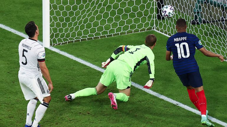 Manuel Neuer cannot prevent the own goal by Germany defender Mats Hummels