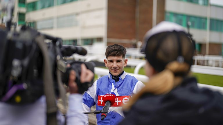 Ghiani faces questions from Sky Sports Racing after winning at Brighton