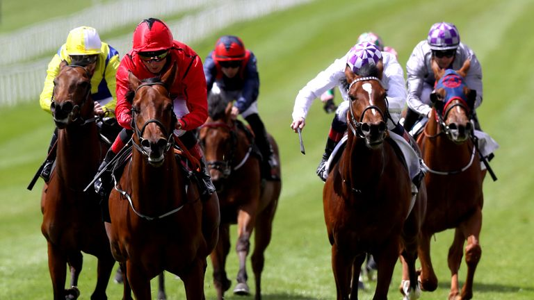 Masseto, far left, chases home Castle Star in the Group Three Marble Hill Stakes at the Curragh