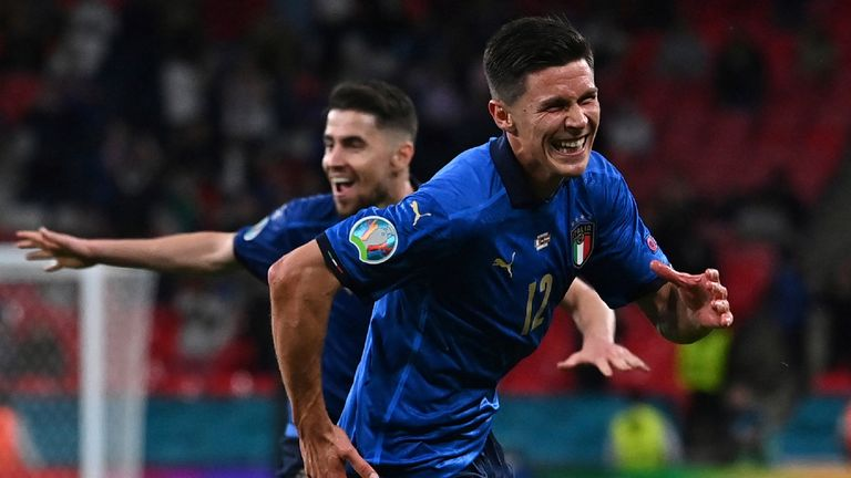 Italy's Matteo Pessina celebrates after scoring his side's second goal during the Euro 2020 soccer championship round of 16 match between Italy and Austria at Wembley
