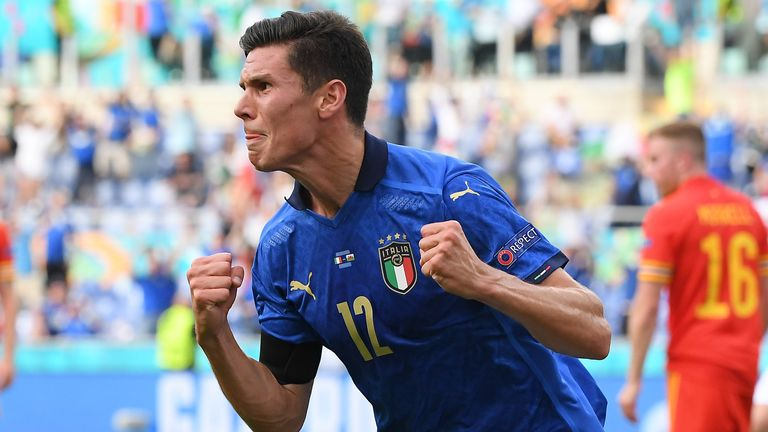 Italy's Matteo Pessina celebrates after scoring against Wales