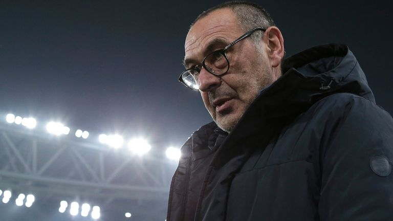 January 15, 2020, Turin, United Kingdom: Maurizio Sarri Head coach of Juventus during the Coppa Italia match at Allianz Stadium, Turin. Picture date: 15th January 2020. Picture credit should read: Jonathan Moscrop/Sportimage(Credit Image: © Jonathan Moscrop/CSM via ZUMA Wire) (Cal Sport Media via AP Images)