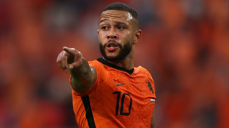 Memphis Depay of the Netherlands during the Euro 2020 soccer championship group C match between Netherlands and Austria at Johan Cruyff ArenA in Amsterdam, Netherlands, Thursday, June 17, 2021, (Dean Mouhtaropoulous/Pool via AP)
