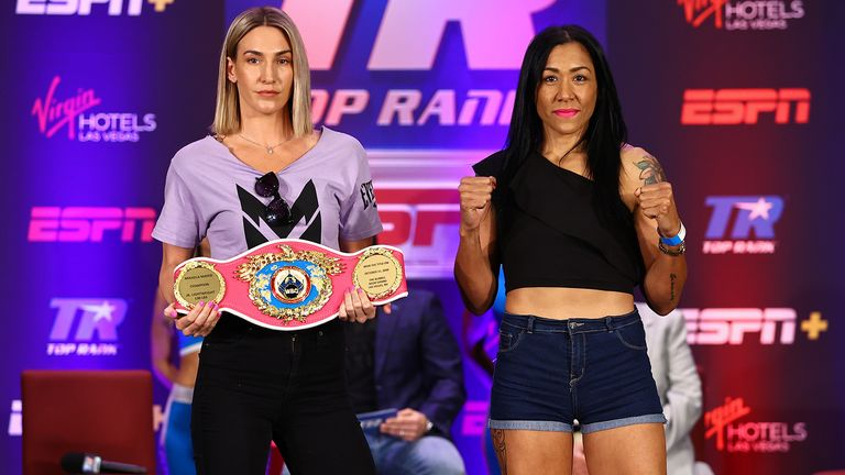 LAS VEGAS, NEVADA - JUNE 17: Mikaela Mayer (L) and Erica Farias (R) posed during their press conference for the WBO female jr. lightweight championship at Virgin Hotels Las Vegas on June 17, 2021 in Las Vegas, Nevada. (Photo by Mikey Williams/Top Rank Inc via Getty Images)
