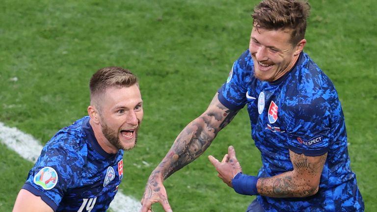 Milan Skriniar celebrates his winning goal